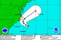 Tropical Depression No. 8 formed off of the Atlantic Coast on Sunday. Photo courtesy of the National Weather Service.