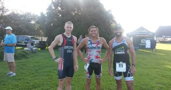 From left, Harrison Brown, Matthew Wisthoff and Tom Clifford after the 2016 Wilmington YMCA Sprint Triathlon.
