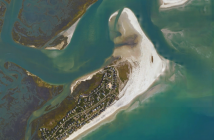 Satellite image of Figure Eight Island and Rich Inlet from Google Maps.