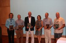 The 2016 Wrightsville Beach Waterman Hall of Fame inductees, from left: Tony Silvagni, surfing, Mike Barden, local surfing hero, Robbie Wolfe,  fishing and boating, Tracy Skrabal, Woman of the Year,  Martin Willard, sailing, and Kevin Walker, diving.